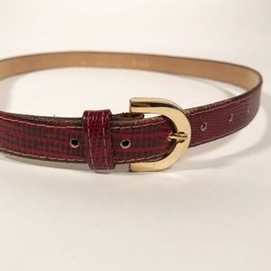 Vintage Thin Burgundy Belt with Cute Gold Buckle